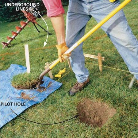 "<b>Photo 1: Start with a pilot hole</b></br> Dig a ""pilot hole""the same diameter as the auger around the stake that marks the center of the hole. That'll keep the auger tip from wandering when you start the hole."