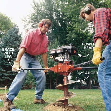 <b>Photo 3: Start out slow</b></br> Advance the throttle slowly until the auger begins to spin and let the machine begin boring into the ground. Throttle up as needed.