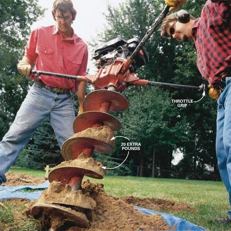 <b>Photo 4: Clean off the dirt</b></br> <p>After the auger has penetrated 6 in. or  so, release the throttle and pull the auger with its load of earth free of the  ground, set it next to the hole and jiggle the dirt off the blade. <strong>Tip:</strong> If you're trying to keep nearby sod free of soil, place extracted soil on a  tarp. Your grass will be pristine after the job's done. </p>