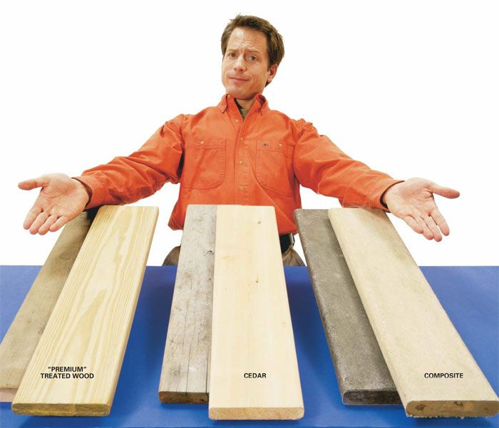Three decking materials