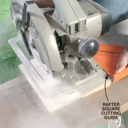 <b>Photo 3: Use a circular saw to cut the frieze board</b><br/>Cut the frieze board to length with a circular saw, using a rafter angle square as a cutting guide. True up cut ends with a rasp or a sanding block.