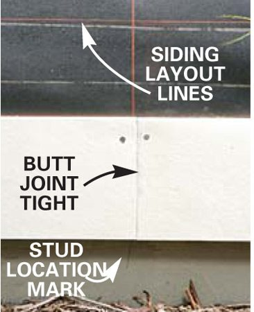 <b>Butt joint detail</b></br> Butt the siding courses tight together.