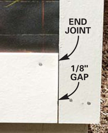 <b>End joint detail</b></br> Leave a small gap between the siding and the corner trim.