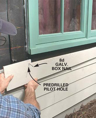 <b>Install the notched siding under the window</b></br> Cut out the notch with your saw and slide the piece into place, leaving a 1/8-in. gap between the siding and windowsill. Caulk this gap later. Predrill and nail at each stud, including under the window.