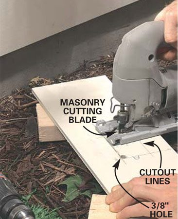 <b>Make cutouts with a jigsaw</b></br> Drill a 3/8-in. hole at the corner with a standard twist drill bit. Cut along the line with a jigsaw fitted with a carbide grit blade. Then nail up the piece of siding.