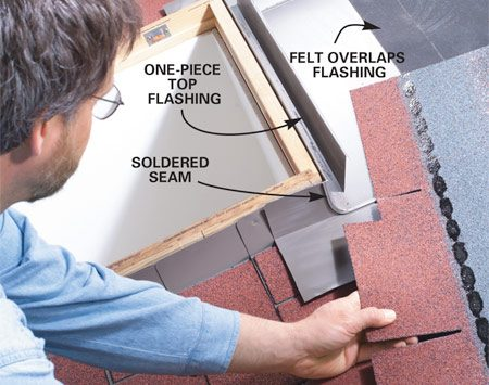 <b>Photo 4: Set the top flashing</b></br> The top (head) flashing is one piece that wraps around the sides. This fabricated piece has soldered and sealed seams and corners. Fit and install the next row of shingles, leaving about 1/2 in. of flashing exposed.