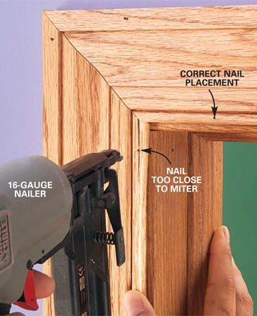 <b>Photo 3: Problem: Split trim at the ends</b></br> Be careful. If you nail too close to the end of the trim, it'll split.