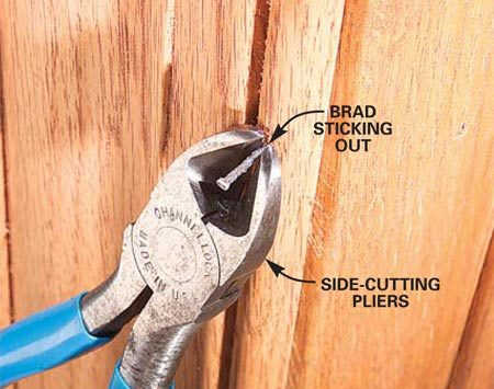 <b>Photo 6: Problem: Nail won't set flush</b></br> Nails that don't set must be driven in or removed. Use side-cutting pliers to pull protruding nails. Or use a nailset and hammer to drive them in.