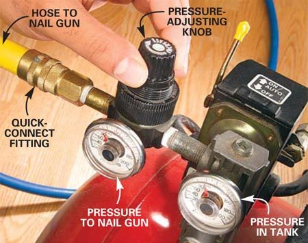 <b>Photo 7: Solution: Increase the air pressure</b></br> Increase the air pressure on your compressor, or use a smaller nail if the nails aren't being driven in completely.