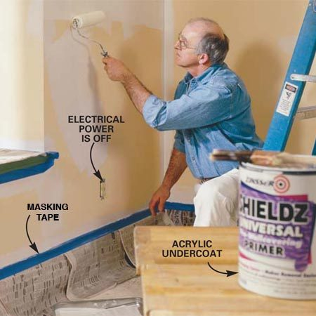 <b>Photo 1: Apply sizing</b></br> Repair any dings or cracks in the walls with joint compound and drywall tape. Sand the repairs smooth. Mask off the trim and apply an acrylic undercoat (sizing) over all the surfaces to be wallpapered. Cut in the edges and corners with a brush. Allow it to dry overnight or the time specified on the label before applying the wallcovering.
