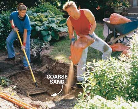 <b>Photo 3: Spread the sand</b></br> Spread a layer of coarse sand to protect the bottom of the liner and the ledges from sharp rocks. Sand also makes the leveling process easier.