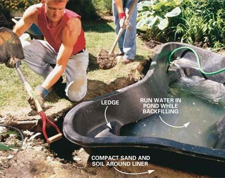 <b>Photo 5: Backfill around the liner</b></br> Backfill around the liner with a 50/50 mix of sand and soil at the same rate water is filling it. Compact the soil and sand as you place it. Fully support the ledges when the backfill reaches that level.