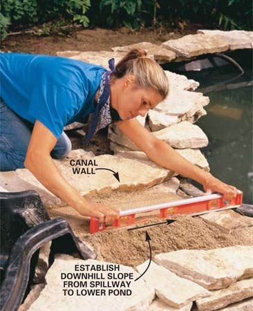 "<b>Photo 10: Slope the sand</b></br> Spread a layer of sand in the stone canal, sloping it toward the lower pond. Continue packing and leveling the sand to create a solid ""stream bed."""