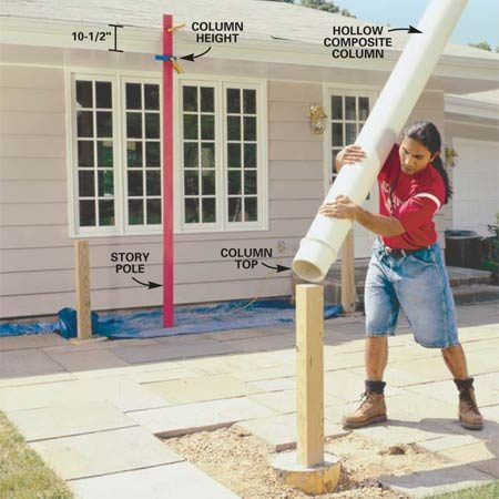 <b>Photo 3: Set the columns upside down on the posts</b></br> Lift the columns (upside down) over the 4x4 posts to mark the bottoms for trimming. Attach a story pole to the house to establish a reference point.