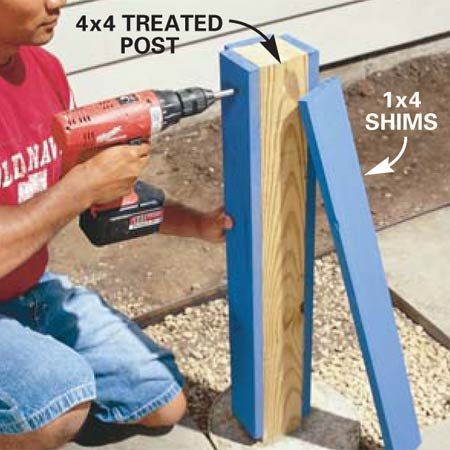 <b>Photo 7: Attach 1x4 shims to the posts</b></br> Screw 1x4 treated pine to the side of each 4x4. This will  beef up the post so it meets the inside edge of the hollow column.