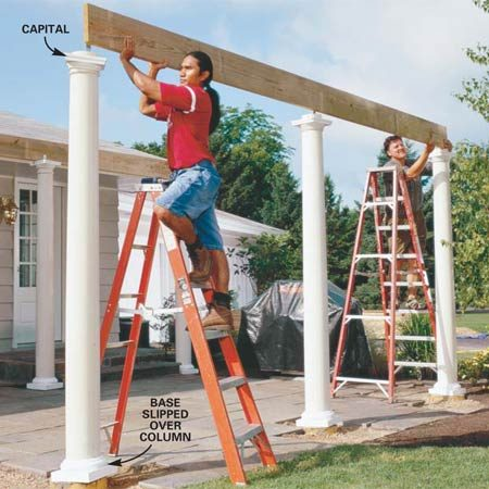 <b>Photo 9: Set the beam over the columns</b></br> Slide the column bases and capitals over the column shafts. Measure and cut the outer 2x10 beam and walk it up the ladders.