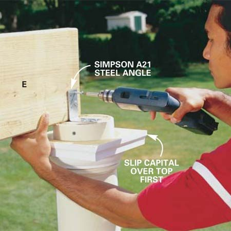 <b>Photo 10: Secure the beam in place with angle brackets</b><br/>Screw the beam (E) to the wood plug so it's flush with the front outside edge of the column. Use angle brackets as shown with 1-1/4 in. Simpson bracket screws. Screw the other beam in place and then the other three intermediate beams, F1 and F2.