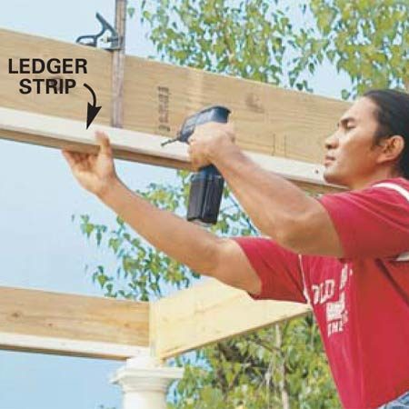 <b>Photo 11: Attach ledger strips to the beams</b></br> Screw a treated wood 1x2 7-1/4 in. down from the top of each of the 2x10 beams running out from the house. These will act as ledgers for the 2x8 flat rafters.