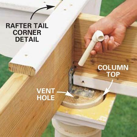 <b>Photo18: Install PVC pieces to vent the columns </b><br/>Drill 3/4-in. holes and insert 6-in. long 1/2-in. PVC pieces with 90-degree fittings attached. These little pipes act as ventilators to help slough off any excess moisture that may get into the columns.