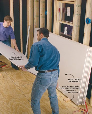 <b>Photo 1: Lean the drywall</b></br> Lean drywall sheets at a slight angle against the last wall to be covered. Tear off the paper strip and flip the front sheet so all the finished faces are toward the room. To prevent warping, make sure the top edge is evenly supported against the framing.