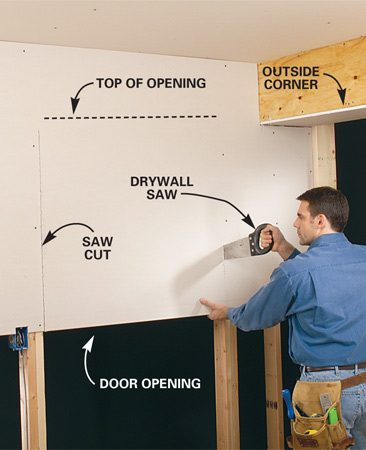 <b>Photo 10: Saw the sides of openings.</b></br> To hold the drywall in place while you're cutting, nail or screw it directly over wall openings whenever possible. Leave the area over the top of the opening unfastened until you finish cutting out the opening. Cut upwards with a drywall saw using the framing as a guide until you feel the saw hit the wood at the top of the opening.