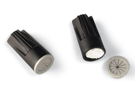 <b>Close-up of wire connectors</b></br> Waterproof connectors seal the bare wire and prevent corrosion.