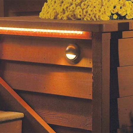 <b>Stair lighting effect</b></br> Stair lights are unobtrusive, yet they cast enough light to make the stairs safe at night.