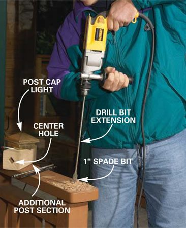 <b>Photo 4: Bore a 1-in. hole</b></br> Bore a 1-in. hole down the center of the rail post. Drill deep enough to get below the second horizontal rail.