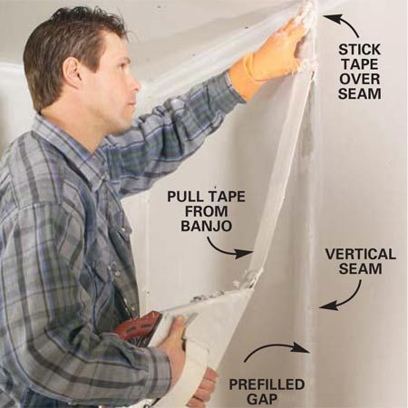 <b>Photo 4: Apply the tape</b></br> Grab the tape and pull out about 12 in. Starting at the top of a vertical seam, center the tape and stick it to the wall. Hold the tape in this position while you pull the banjo with the other arm to release more tape. Slide your hand down the tape to press it to the wall and repeat the process as you work the length of the seam.