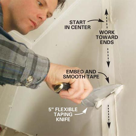 <b>Photo 6: Embed the tape</b></br> Embed the tape and smooth it by dragging a 5- or 6-in. flexible taping knife over the tape. Apply just enough pressure to flatten the tape to the wall. Start at the middle and work in both directions to the ends.