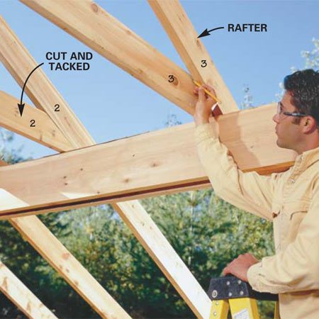 <b>Photo 13: Cut the ceiling ties</b></br> <p>Push the 2x6 ceiling ties against the rafters   and scribe the end cuts to match the underside   of the rafters. Number them to avoid   confusion. Cut a second 2x6 ceiling tie for each  rafter   using the ones you scribed as patterns for their  mates.   Tack one under each rafter with a 10d toenail and  save   their mates  for the other side of the sandwich later. </p>