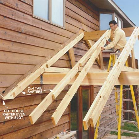 <b>Photo 16: Complete the rafters and ceiling ties</b></br> Nail on the previously cut 2x6 rafters and 2x6 ceiling ties to the 2x4s to complete the rafter and tie sandwiches. Place 10d casing nails every 12 in. Toenail the rafters to the ridge beam.