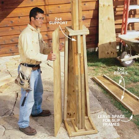 <b>Photo 21: Build the pilasters</b></br> <p>Cut and assemble the tapered plywood   post-base sides using Fig. B   as a guide. Raise the top slip frame   5 ft. above the floor and hold it in place with a   2x4 block toenailed into the post. Nail the side   pieces to the top and bottom slip frames and   to the 2x2s with 7d galvanized nails spaced   every 6 in. </p>