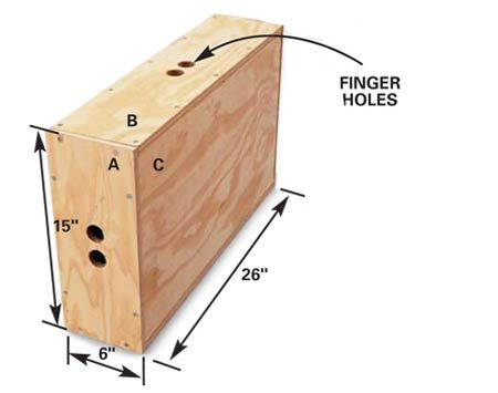 <b>Dimensions</b><br/>PLYWOOD<br>    CUTTING<br> LENGTHS<br> A—6&quot; x 15&quot;<br> B—6&quot; x 24-1/2&quot;<br> C—13-1/2&quot; x 24-1/2&quot;