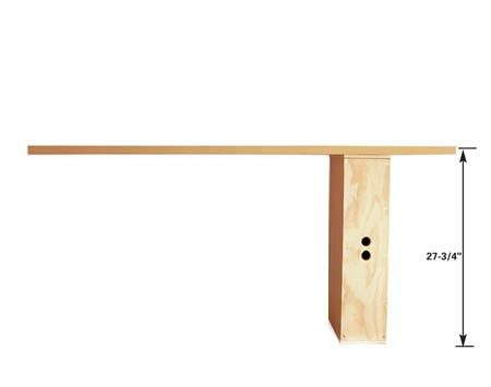 <b>Full-height bench</b><br/>Create a standard-size workbench by setting the box on the short side.
