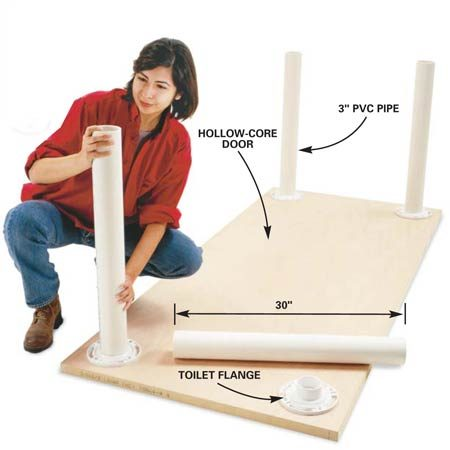 <b>Legs</b></br> Fit the PVC legs into the flanges.