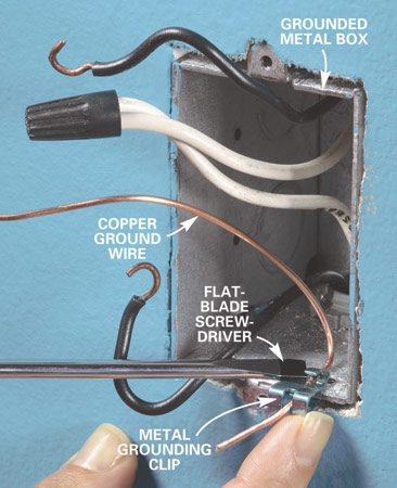 <b>Photo 4: Install a grounding clip</b></br> Press a grounding clip and 6-in. length of bare copper wire onto the metal box with a screwdriver. Cut away a little bit of drywall under the box to provide clearance for the clip.