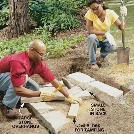 <b>Photo 6: Place the tread</b></br> Arrange large flagstones to overhang the lower riser about 2 in. Remove soil or tamp gravel into low areas to level the tops of the stones. Leave gaps between stones up to 2 in. wide.