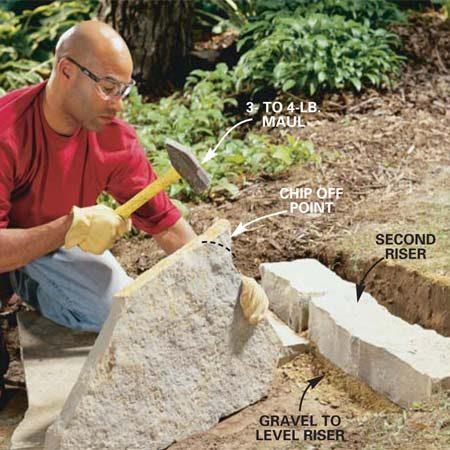 <b>Photo 7: Trim corners</b></br> Trim stones for a better fit by chipping away at protruding pieces with a heavy maul. Wear safety glasses.