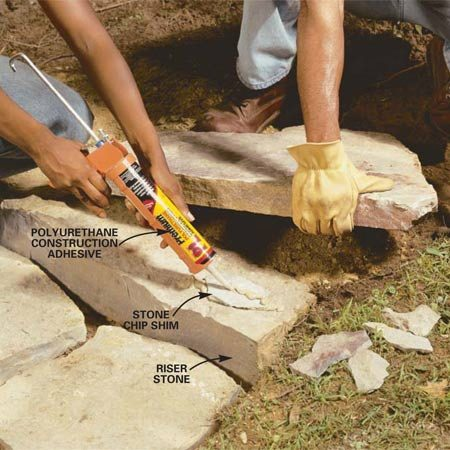 <b>Photo 8: Shim the treads</b></br> Shim unstable flagstone treads with stone chips. Tip the tread stone out of the way and glue the stone shims to the risers with polyurethane construction adhesive.