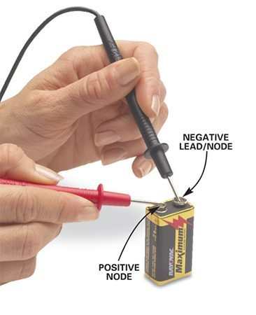 <b>Photo 2: Testing a 9V battery</b></br> Set the voltage selector to the 9V setting (9 volts) and touch the red probe to the smaller (+) connector and the black probe to the larger (-) connector (as marked on the battery label).