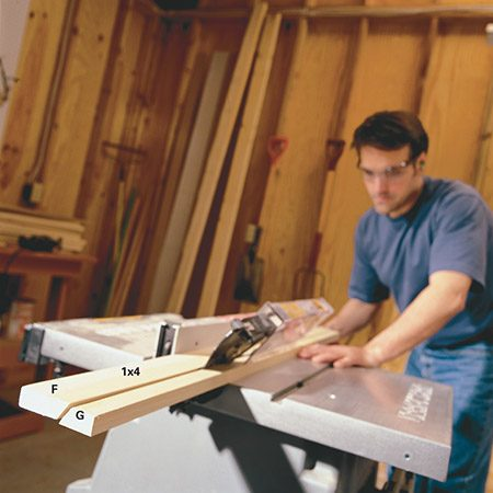 <b>Photo 1: Rip the supports</b></br> <p>Set your saw at 27-1/2 degrees and rip the pieces that make the center and top back supports. If you don't have a table saw, ask the lumberyard or a well-equipped neighbor to help.</p>
