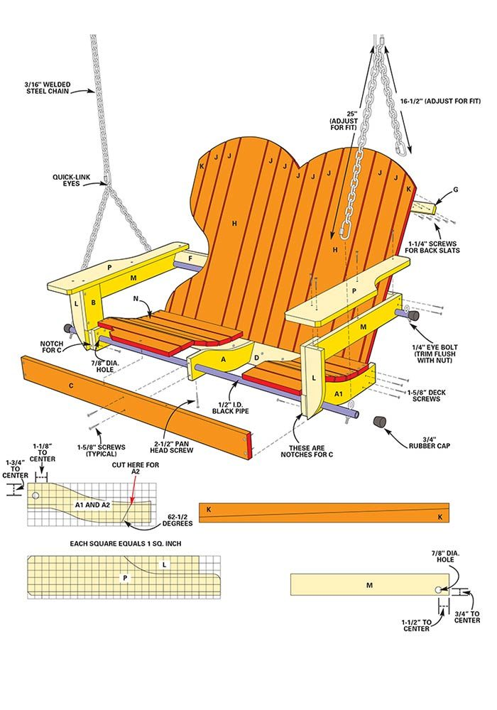 Figure A shows how to build a porch swing