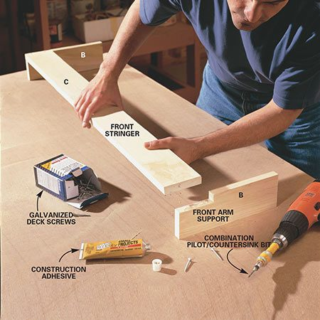 <b>Photo 3: Assemble the front arm supports</b></br> <p>Notch the front arm supports with a jigsaw to accept the front stringer (C). Drill pilot and countersink holes and apply a dab of construction adhesive at each joint. Fasten with 1-5/8 in. deck screws.</p>