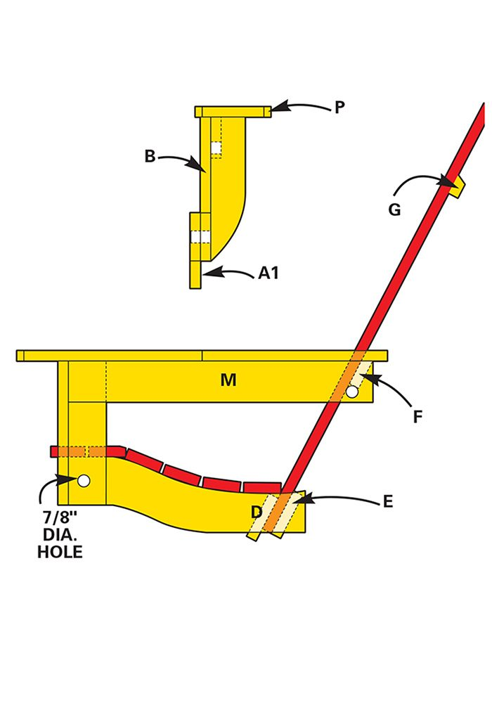 Figure B shows how to build the back and bottom of the porch swing.