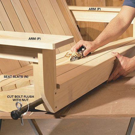 Shave down uncomfortable high spots in the seat when you build the porch swing.