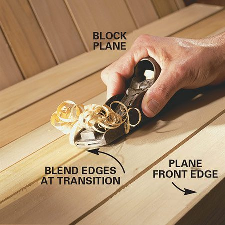 A block plane will ease sharp edges when you build the porch swing.
