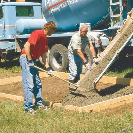 <b>Use as dry a mix as you can handle</b></br> Adding water to the concrete makes it flow down the chute and fill your forms more easily, but it also weakens the final slab. A drier mix is more difficult to pack into your form, especially around the edges, but makes for a stronger, more crack-resistant slab.