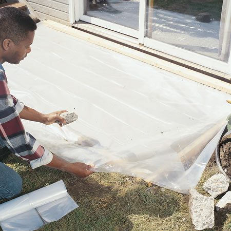 <b>Keep the concrete damp for a week</b></br> Concrete will cure harder and stronger if it has a chance to dry slowly. In cool and moderate conditions, cover it with plastic. Under hot conditions, above 80 degrees F, frequently water it down with a garden hose to keep it moist. If kept wet, concrete will reach about 90 percent of its maximum strength after about a week.