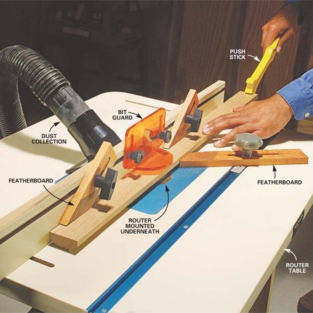 <b>Photo 1: Shape board edges</b></br> Clamp feather boards to the fence and tabletop so they apply moderate pressure to the board. Feed the board through the router at a steady rate. Hook the notch on the push stick over the end of the board and use the stick to push the board past the bit at the end of the cut.